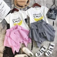 Setelan Kaos T-Shirt Bayi Perempuan Lengan Pendek Gambar Kartun Ayam