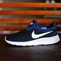 Sepatu Sport Santai Nike Kaishi Run Slip On Tanpa Tali - Biru Dongker