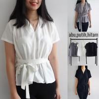 [ClothME] Dorothy baju atasan blouse kimono tali monochrome putih abu