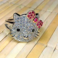 Cincin Hello Kitty emas putih pesanan