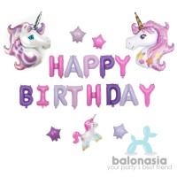Balonasia Set Dekorasi Ulang tahun Unicorn