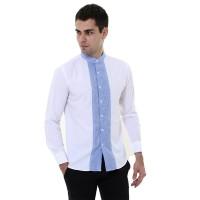 VM Kemeja Putih Krah Shanghai Slimfit Tangan Panjang Mandarin Shirt - Putih, M