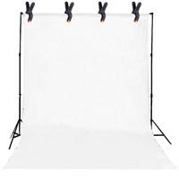 Paket Studio stand tiang background klip kain background - Putih