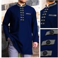 Baju Koko Akhtar Navy Blue Muslim Pria Brand Distro Ter Berkualitas