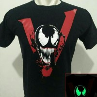 Kaos baju tshirt venom glow in the dark hitam