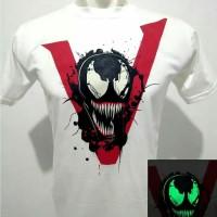 Kaos baju tshirt venom glow in the dark putih