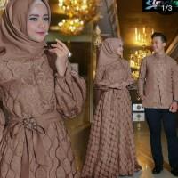 Baju Couple Busana Muslim Pasangan Terbaru Copel Raswa Coklat Murah
