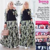 Baju Setelan Wanita Atasan Rok Teresa Army Set 1