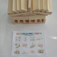 kapla balok bangun 200 balok kayu tanpa keranjang