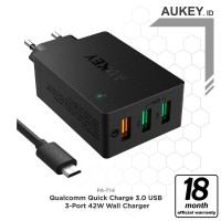 Aukey PA-T14 Wall Charger with Quick Charge 3.0 - Hitam [42W/3 port]