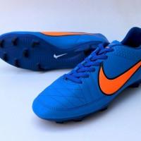 Sepatu Sepak Bola Nike Tiempo Biru List Oren Import