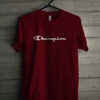 Kaos Distro Unisex T-Shirt Merah Maroon Champion Logo Brand O6091