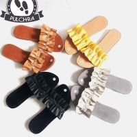 sandal teplek wanita selop trepes kekinian model flat kerut ruffle