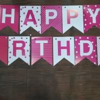 Banner flag perlengkapan pesta dekorasi sederhana ulang tahun anak