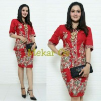 Setelan Baju Batik / Rok Blus Kebaya Pramugari Kerang Merah