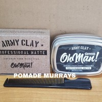 Pomade Oh Man Army Clay The Proffesional Matte Waterbased Free sisir