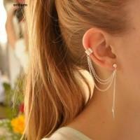1 pcs Ear Cuff - Anting Tusuk Model Rumbai Rantai dan Daun