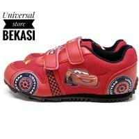 Sepatu Anak lelaki Karakter Disney Cars mobil Sekolah PAUD TK Merah