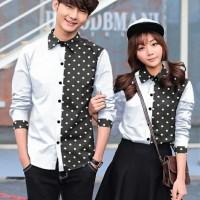 KEMEJA COUPLE/KEMEJA PASANGAN/BAJU COUPLE HEM KOREA NEW POLKADOT