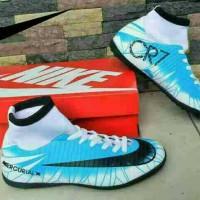 Sepatu Olahraga Futsal Nike Mercurial CR7 High Biru Putih