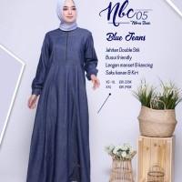 Baju Gamis Nibras Nbc 05 Warna Biru Jeans Polos Bahan Blue Jeans Busui