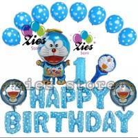 Balon foil set happy birthday / paket ulang tahun Doraemon
