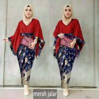 set kebaya wisuda modern/stelan cape Batwing/baju pesta muslim/resmi