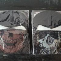 Balaclava/masker topeng/masker fullface motif tengkorak coklat/putih