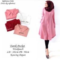 Baju Atasan Tunik Wanita   Tunik Pocket   Kemeja Tunik Blouse Muslim