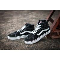 vans sepatu sepatu berlayar hitam dan putih tinggi - berkualitas tin