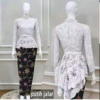 set kebaya wisuda putih/white elegan/baju muslim modern/pesta/resepsi