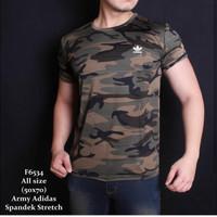 Baju Kaos Army Pria Gym Fitness Hijau Loreng Camo Olahraga Sport