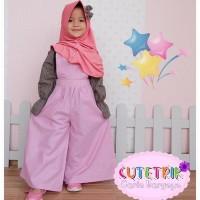 (3-7 tahun) WB 6 Baju Muslim Anak Cutetrik Setelan Jumpsuit Kulot Pink