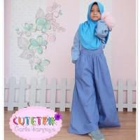 (3-7 tahun) WB 8 Baju Muslim Anak Cutetrik Setelan Jumpsuit Kulot Blue