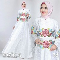 Diva White maxi baloteli embos dress gamis pesta