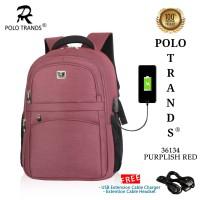 Tas Ransel Sekolah Backpack Kerja Polo Trands 36134 Original Quality - Merah