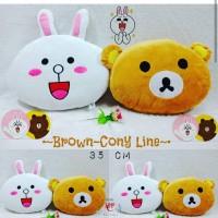 Bantal karakter line brown dan cony 1 set premium