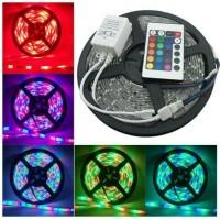 Lampu led strip RGB warna warni 5 meter ac 220 v + Adapter+Remote