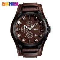 Jam Tangan Pria / Analog Date / SKMEI 9165 Leather / Jam Tangan Analog