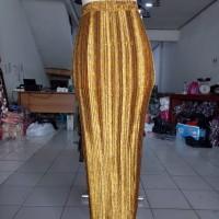 rok plisket panjang songket kuning,tannisa collection