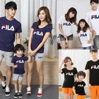 kaos family fila lengan pendek - baju keluarga 1 anak