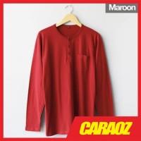 Baju Kaos Polos Merah Marun LS HENLEY MAROON Kaos Saku Kancing Panjang