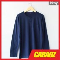 Baju Kaos Polos Navy LS HENLEY NAVY Kaos Saku Kancing Lengan Panjang - S