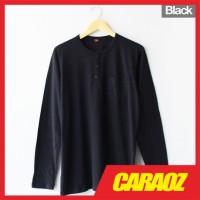 Baju Kaos Polos Hitam LS HENLEY BLACK Kaos Saku Kancing Lengan Panjang - S