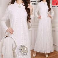 Baju Gamis Syari Putih Brokat / Gamis Umroh Haji / Gamis Muslim #80820
