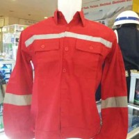 Baju Seragam Kerja Safety Lengan Panjang Merah