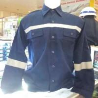 Baju Seragam Kerja Safety Lengan Panjang Biru Dongker