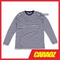 Baju Kaos Polos Garis LS STRIPE CLASSIC NAVY Kaos Lengan Panjang Biru - S
