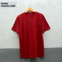 Baju Kaos Polos Tangan Pendek Saku Kancing / Henley Merah Maroon Marun