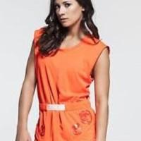 Adidas Stella McCartney Women's Climachill Solar Red Tee Baju Wanita
